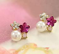Korea Style 2014 New Fashion Crystal Simulated Pearl Stud Earrings