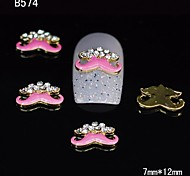 10pcs Gold Beauty Pink Moustache 3D Alloy Nail Sticker Rhinestone DIY Nail Art Decoration