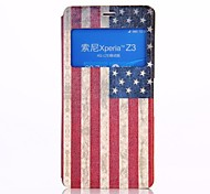 American Flag Pattern PU Leather Flip-open Full Body Case with Stand for Sony Z3
