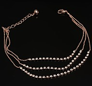Free Shipping Fashion Hot Three Rows Crystal Rose Gold Anklets 10pcs