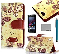 COCO FUN® Yellow Butterfly Pattern PU Leather Case with Screen Protector and Stylus for Sony Xperia Z3