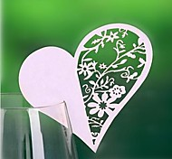 12pcs Laser Cut Lace Heart Cup Cards Name Place Card for Wedding Christmas Birthday Baby Shower Party Decorations