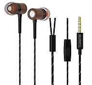 Langston MT001 Wooden + Metal 3.5mm Plug In-Ear Earphones (Assorted Colors)