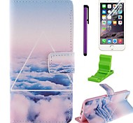 The Sky Triangle Pattern PU Leather Case with Screen Protector and Stylus for iPhone 6