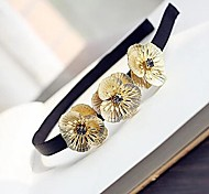 Z&X®  Vintage Golden Flowers Black Fabric Hair Band