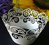 12pcs escavar nuvens copos bolo bolo padrão papel envoltório do queque do cozimento envolve decorações de casamento fornecimento