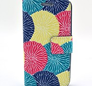 Red Yellow Green Lotus Pattern PU Leather with Case and Card Slot for Galaxy S5 Mini
