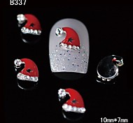 10pcs Beauty Xmas Red Santa Hat 3D Alloy Nail Design DIY Nail Art Decoration