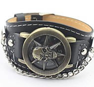 Men's Skull Round Dial Bronze PU Band Fashion Quartz  Watch (Assorted Colors)
