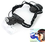 NO.9892C Headband 2-LED White Light Illuminating 1.0X / 1.5X / 2.0X / 2.5X / 3.5X Magnifier - Black