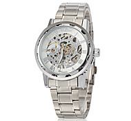 WINNER® Men's Elegant Skeleton Hollow Dial Silver Steel Band Fashion Mechanical Hand Wind Wrist Watch (Assorted Colors) Cool Watch Unique Watch