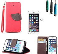 Leaves Pattern PU Leather Cover with Card Slot with Touch Pen and Protective Film 2 Pcs for iPhone 5/5S(Assorted Colors)