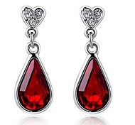 Unique 18K Platinum Plated Jewelry Use Shining Austria Red Crystal Waterdrop Earrings