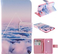 Only Beautiful Cloud Design PU Leather Full Body Case with Stand for Nokia Lumia N630