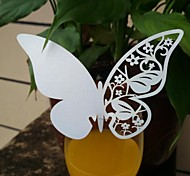 12pcs Laser Cut Butterfly Cup Cards Name Place Card for Wine Glass Wedding Christmas Baby Shower Party Decorations