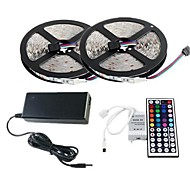 2×5M RGB LED Strip Light 300 3528 SMD and 44Key Remote Controller and 6A EU AU US Power Supply (AC110-240V)