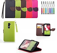 Leaf Buckle PU Leather Full Body Case with Card Slots with Touch Pen for LG G2 (Assorted Colors)