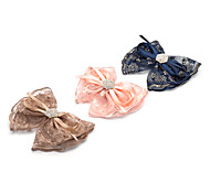 1PC Korean Diamante Bowknot and Lace Barrette(Random Color)