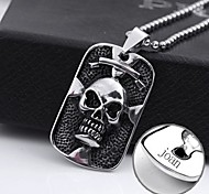 Personalized Gift Pendant Necklace Skull Shaped Stainless Steel Engraved Jewelry