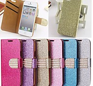 Glitter Powder Style PU Leather Full Body with Stand and Card Slot for iPhone 4/4S  (Assorted Colors)