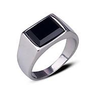 Men's Europe Vintage Personality Darkstone Titanium Steel Ring