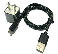 1m 3.3ft Steckerwandaufladeeinheit und USB-Datenkabel für Samsung HTC Sony (Farbe sortiert)