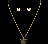 Fashion Butterfly Shape Golden Stainless Steel Jewelry Sets(1 Set)