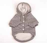 Dog Coat / Hoodie Gray Winter Solid Fashion