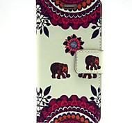 au cher motif d'éléphant en cuir PU cas complète du corps avec fente pour carte et Stand pour iPhone 6