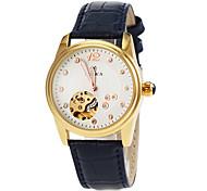 Frauen automatische Selbstwind hohlen Gravur Goldgehäuse Lederarmband Armbanduhr (farbig sortiert)