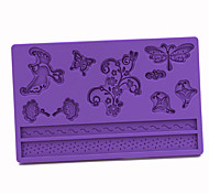 Silicone Dragonflies Butterflies Pattern Fondant Cake Mold,20x13x1cm