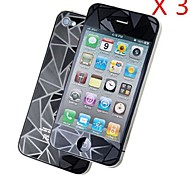Frente 3d diamante + protector de la pantalla para el iphone 4 / 4s (3pcs)