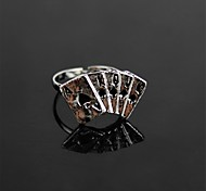 Novelty Zinc Alloy Poker Ring (7.5 US Size) - Silver (1Pcs)