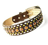 Luxury Studded Crystal Horse Hair Genuine Leather Collar for Pets Dogs
