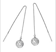 925 Silver Long Snow White Sterling Silver Drop Earrings
