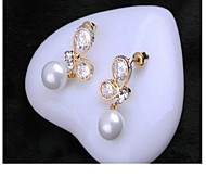 Zircon Crystal Elegant Pearl Earrings