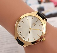 Women's Gold Round Case Leather Band Quartz Fashion Watch
