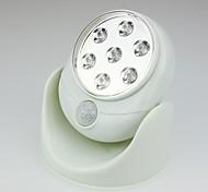 Rotation de 360 degrés de conception sans fil blanche 7 a mené la lumière de nuit de capteur (2xaa)