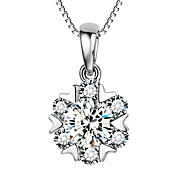 925 Sterling Silver Korean Snowflake Pendant Necklace