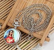 Frauen unserer Dame Muster runden Zifferblatt Quarz-Legierung Halskette uhr weiß k (1pc)