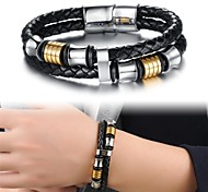 Fashion Titanium Steel Ring Gold Plated Multilayer Men Leather Braided Bracelet Jewelry