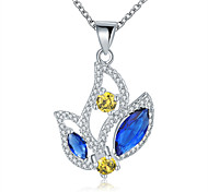 Elegant Style 925 Sterling Silver Jewelry Water Drop Pave Colorful Zircon Pendant Necklace for Women