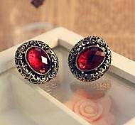 Elliptic Carve Patterns Or Designs On Woodwork Hollow Out Ruby Stud Earrings