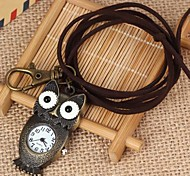 Unisex Blankly Owl-Shaped Round Dial Leather&Alloy Quartz Necklace /Keychain Watch Green Patina (1Pc)
