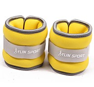 Neoprene Yellow Wrist/Ankle Weights (0.5KG pair) 1KG Set Filled with Iron Sand for Running Exercise