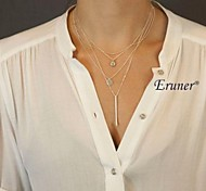 Eruner® European Style Fashion Geometric Shaped Metal Sequins Multilayer Necklace