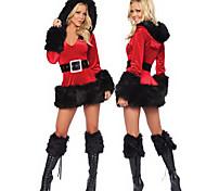 Christmas Costume Preto Guarnição de Pele Hoodie vermelho vestido das mulheres