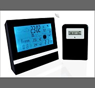 LCD Alarm Clock Weather Station Digital Clock Calendar Thermometer Hygrometer(Black)