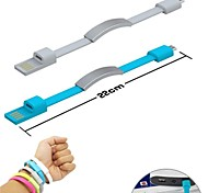 USB Sync Data Charging Micro USB Wrist Band Cable for Samsung/HTC/Sony/LG Cell Phones (Assorted Colors)