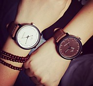 Couple's  Circular Quartz Fashion Belt Watch(Assorted Colors)